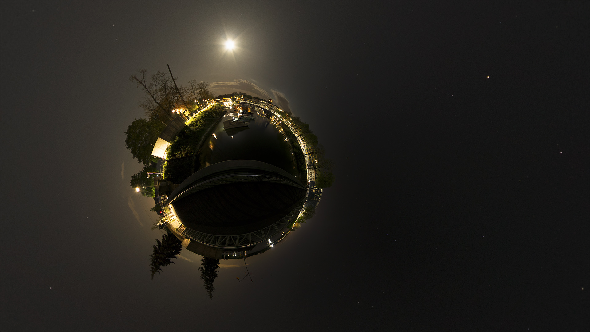 Winterhafen Nacht Little planet