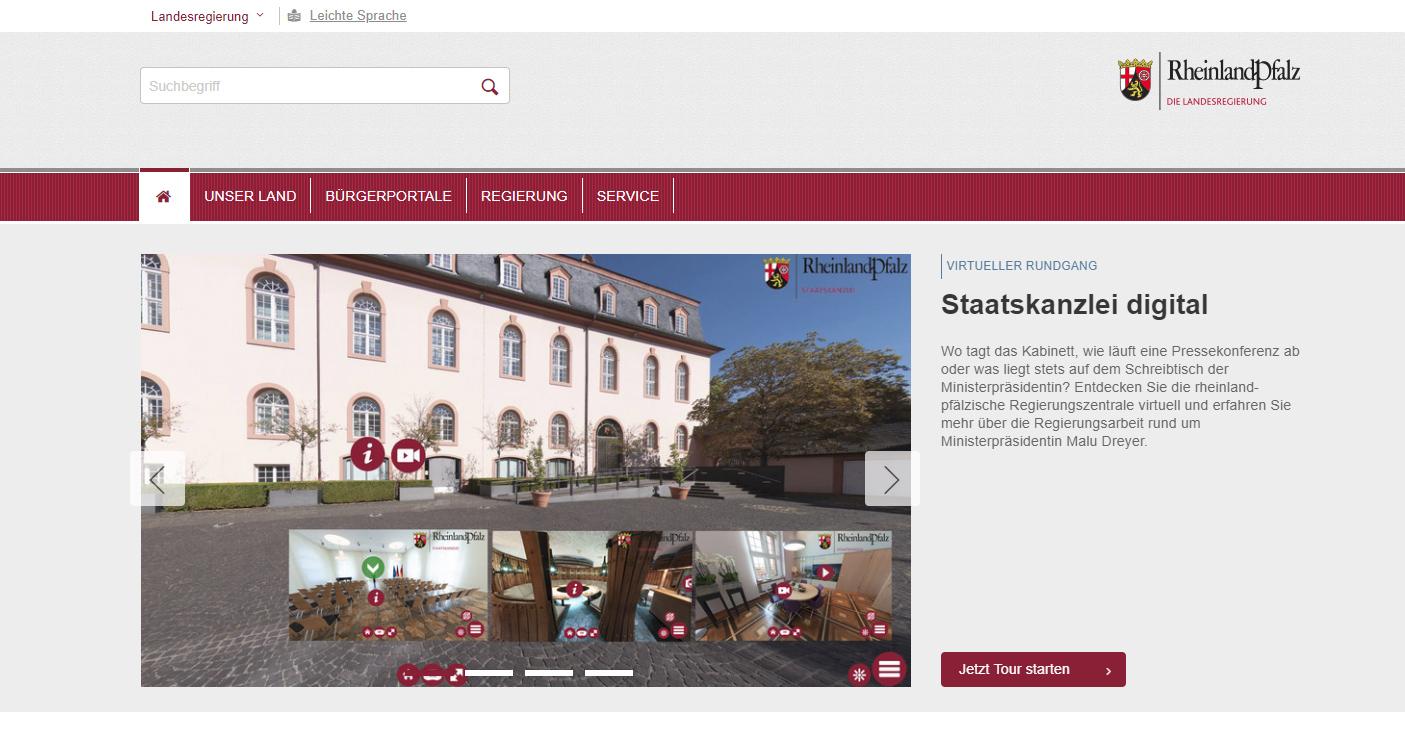 Staatskanzlei RLP Startseite virtuelle Tour
